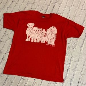 Vintage Heads & Tails Dog Puffy Red T-shirt XL